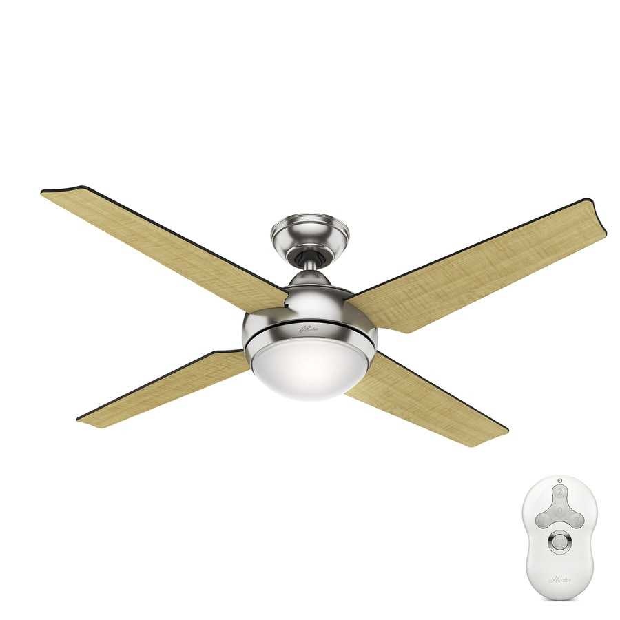 Hunter Sonic 52-in Brushed Nickel Indoor Downrod Mount Ceiling Fan with Light Kit and Remote (4-Blade) ENERGY STAR