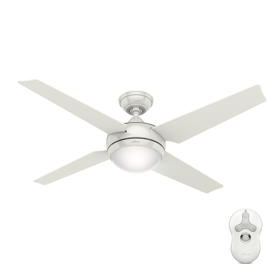 Hunter Sonic 52 In White Indoor Downrod Mount Ceiling Fan With Light Kit And Remote Energy Guide