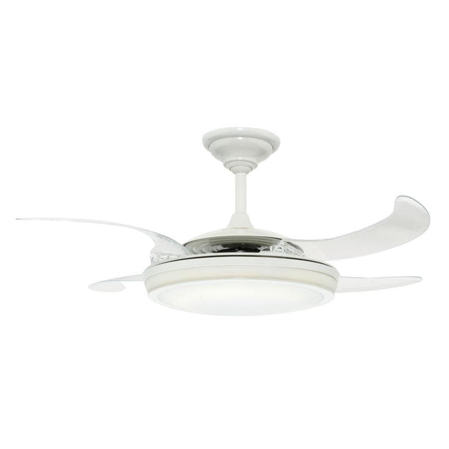 Hunter Fanaway Retractable Blade 48-in White Indoor Downrod Mount Ceiling Fan with Light Kit and Remote (4-Blade)