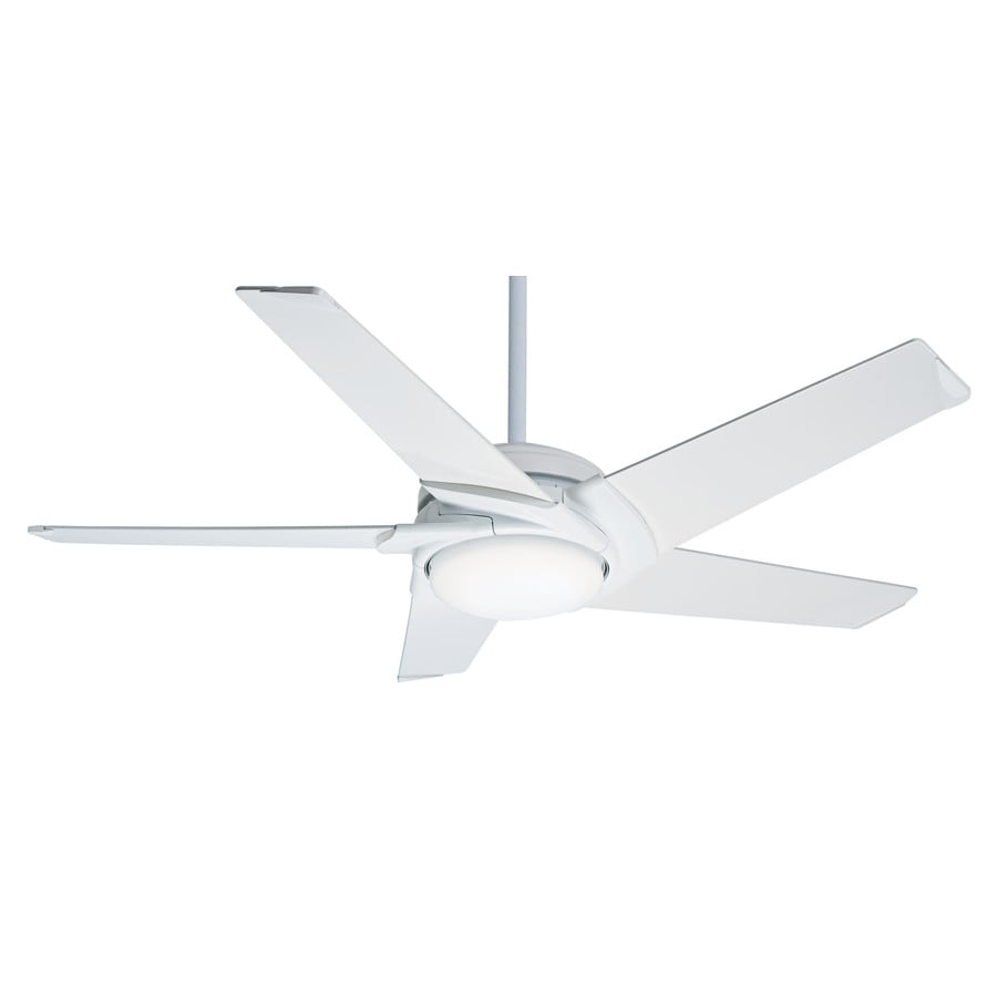 Casablanca Stealth LED 54-in Snow White Integrated LED Indoor Downrod Or Close Mount Ceiling Fan with Light Kit and Remote ENERGY STAR