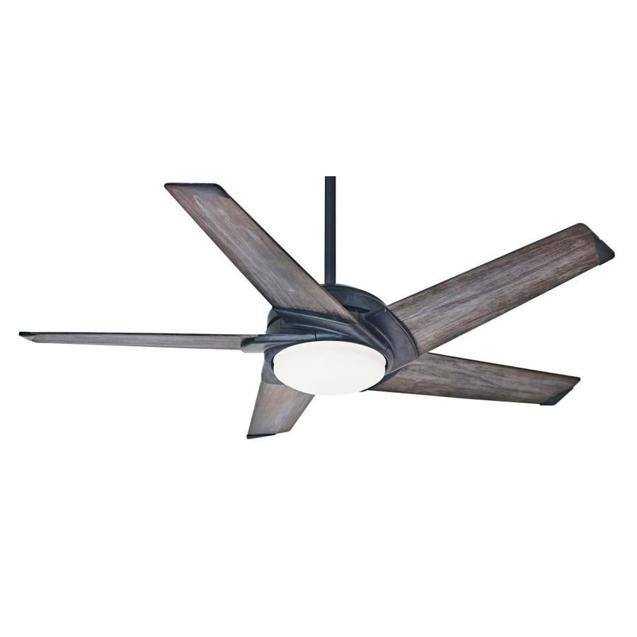 Casablanca Stealth LED 54-in Aged Steel Integrated LED Indoor Downrod Or Close Mount Ceiling Fan with Light Kit and Remote ENERGY STAR