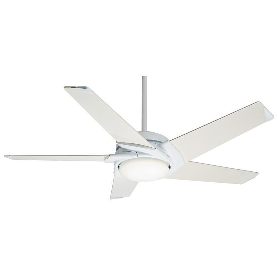 Casablanca Stealth Dc 54-in Snow White Downrod or Close Mount Indoor Ceiling Fan with Light Kit and Remote