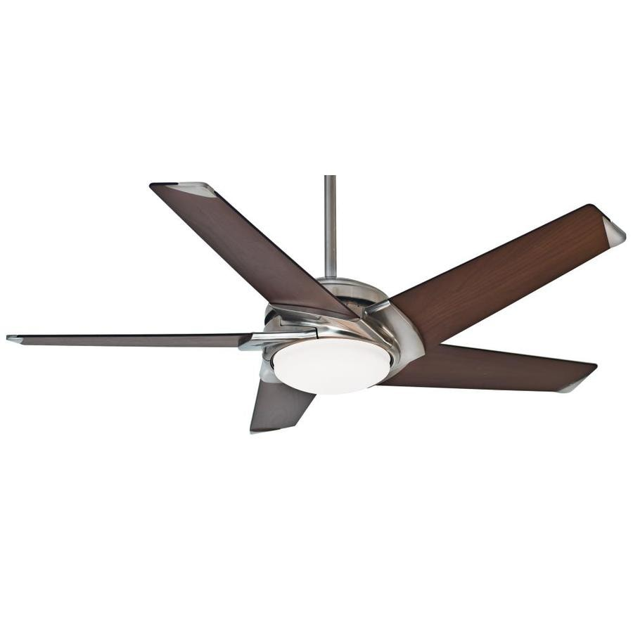 Casablanca Stealth Dc 54-in Brushed Nickel Downrod or Close Mount Indoor Residential Ceiling Fan with Light Kit with Remote