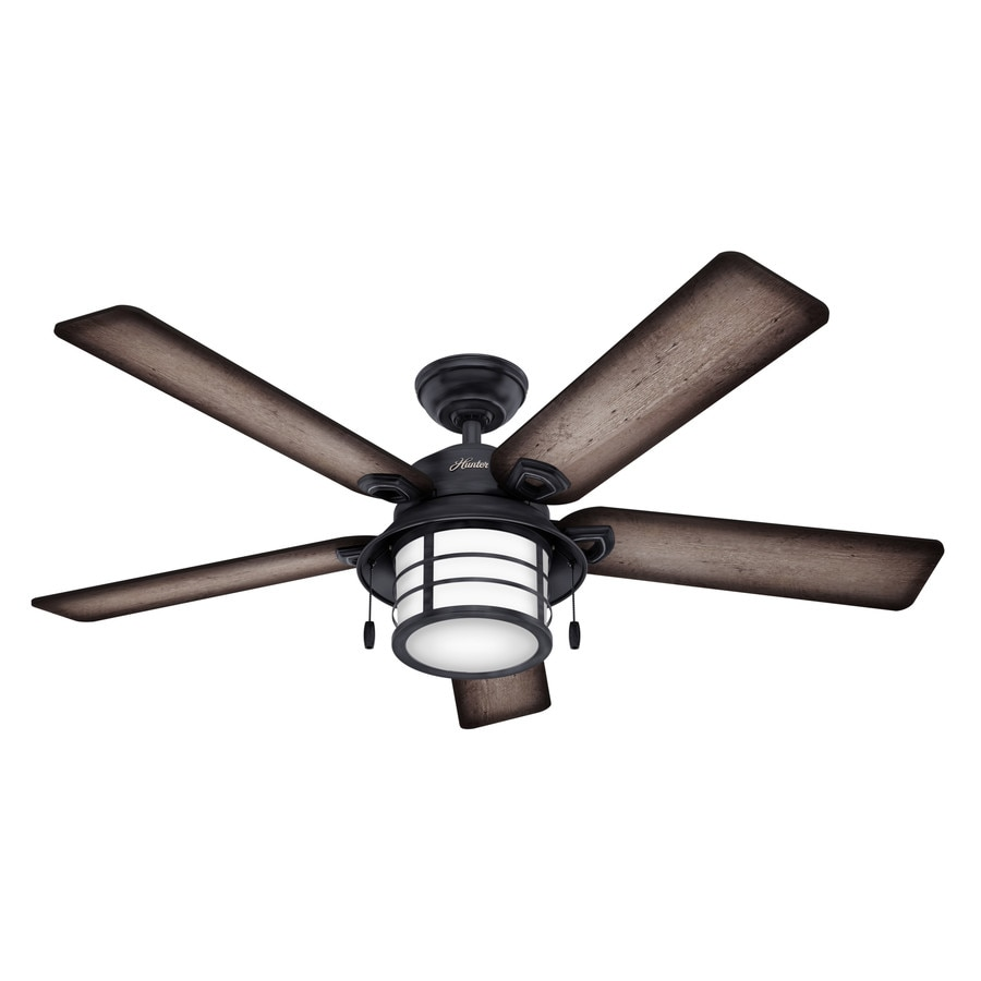 Hunter Key Biscayne 54-in Weathered Zinc Indoor/Outdoor Downrod Or Close Mount Ceiling Fan with Light Kit