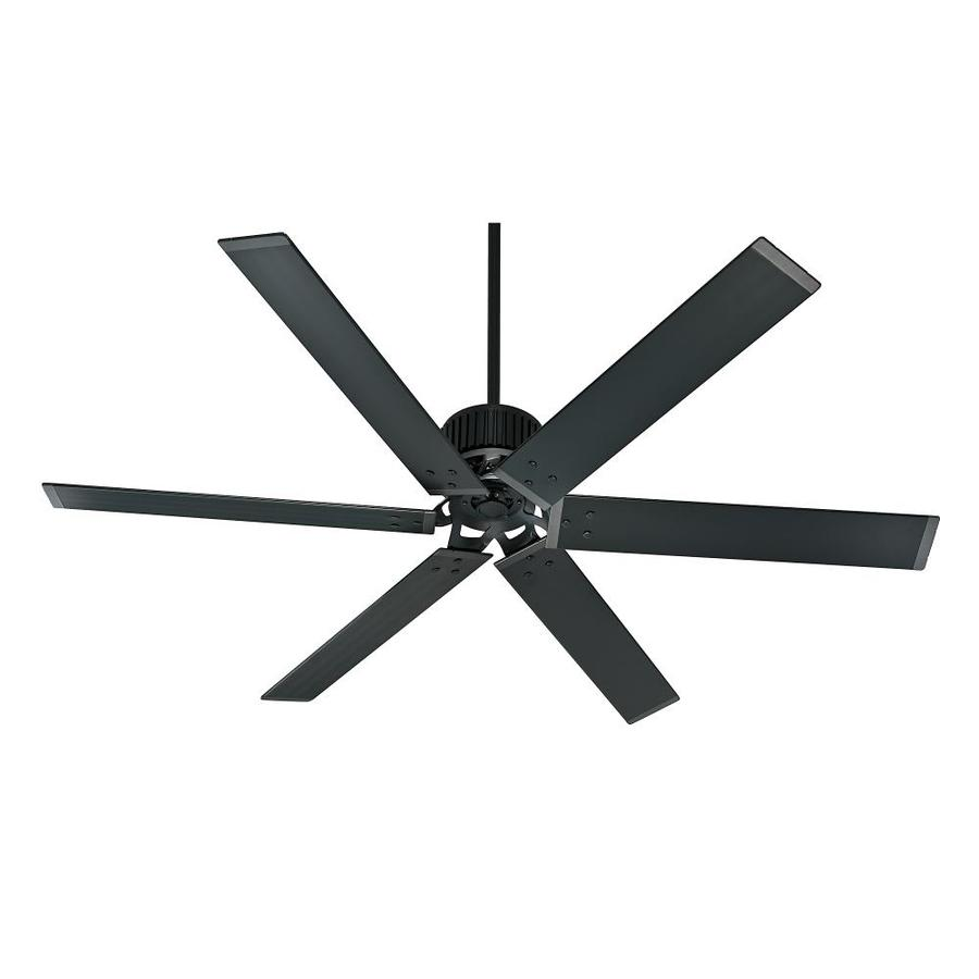 Hunter Industrial 72-in Matte Black Indoor/Outdoor Downrod Mount Ceiling Fan (6-Blade) ENERGY STAR