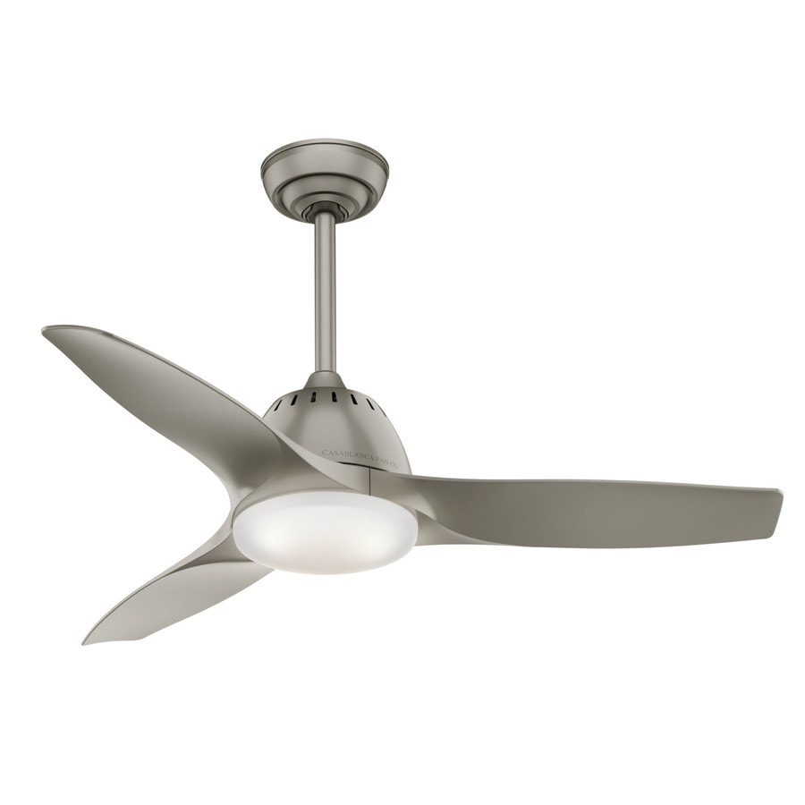 Casablanca Wisp LED 44-in-Pinted Pewter Integrated LED Indoor Downrod Or Close Mount Ceiling Fan with Light Kit and Remote (3-Blade)