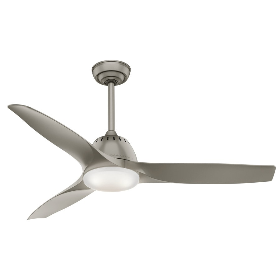 Casablanca Wisp LED 52-in Painted Pewter Integrated LED Indoor Downrod Or Close Mount Ceiling Fan with Light Kit and Remote (3-Blade) ENERGY STAR
