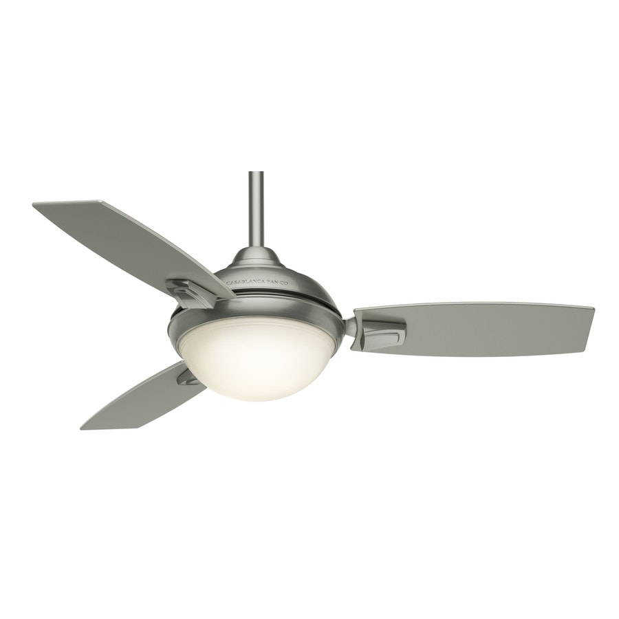 Casablanca Verse LED 44-in Satin Nickel Downrod or Close Mount Indoor/Outdoor Residential Ceiling Fan with LED Light Kit with Remote (3-Blade)