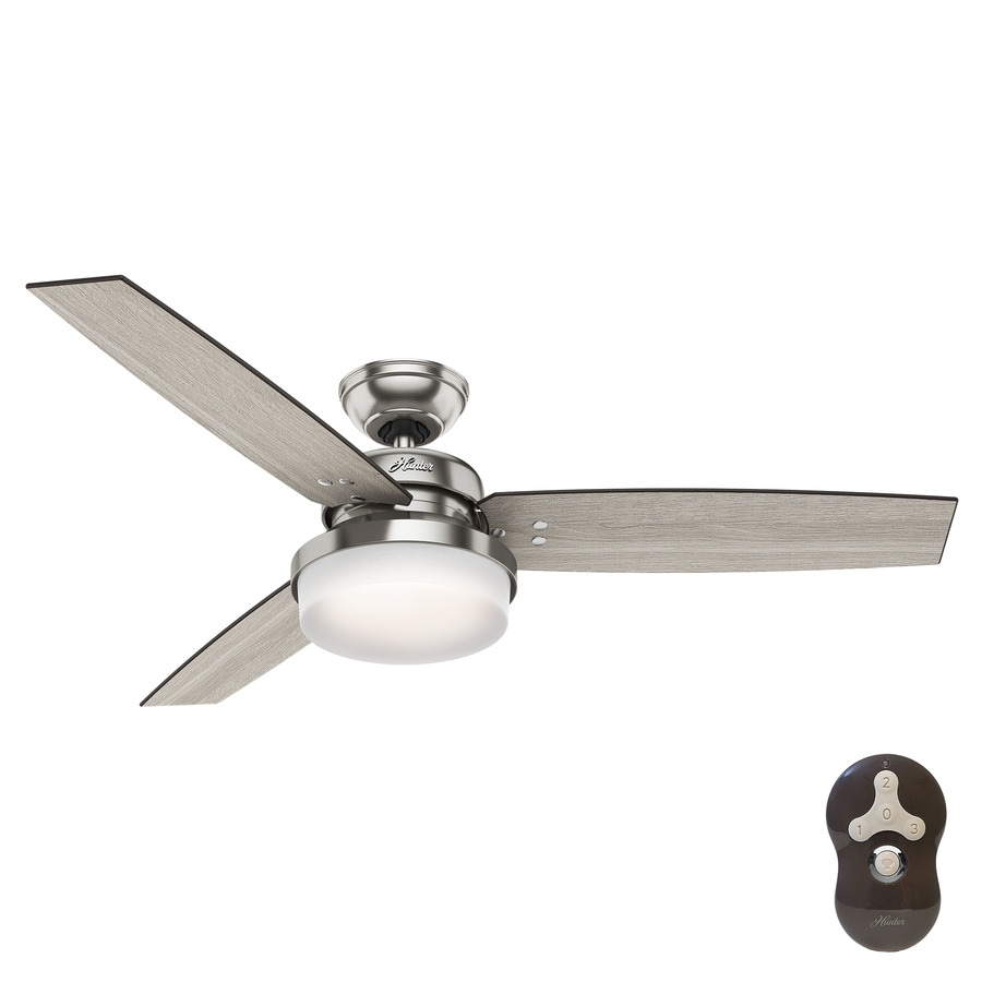 Hunter Sentinel 52-in Brushed Nickel Indoor Downrod Or Close Mount Ceiling Fan with Light Kit and Remote (3-Blade)