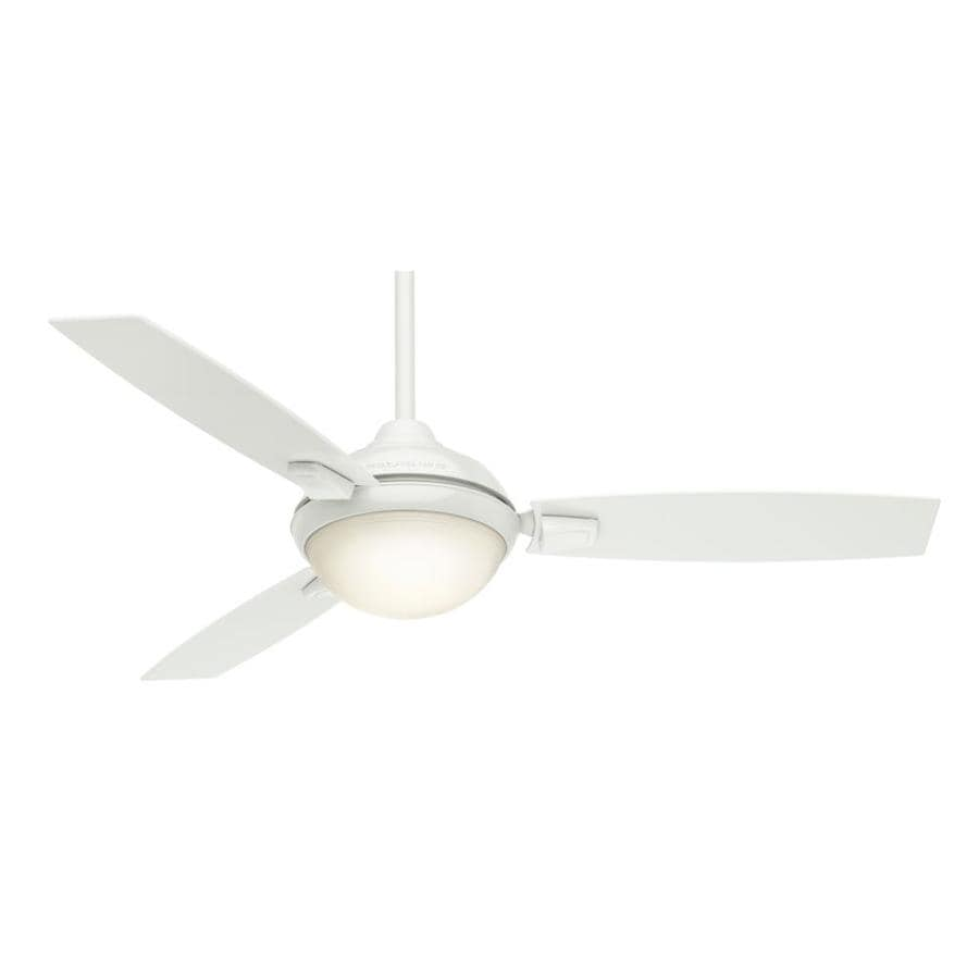 Casablanca Verse LED 54-in Fresh White Integrated LED Indoor/Outdoor Downrod Or Close Mount Ceiling Fan with Light Kit and Remote (3-Blade) ENERGY STAR