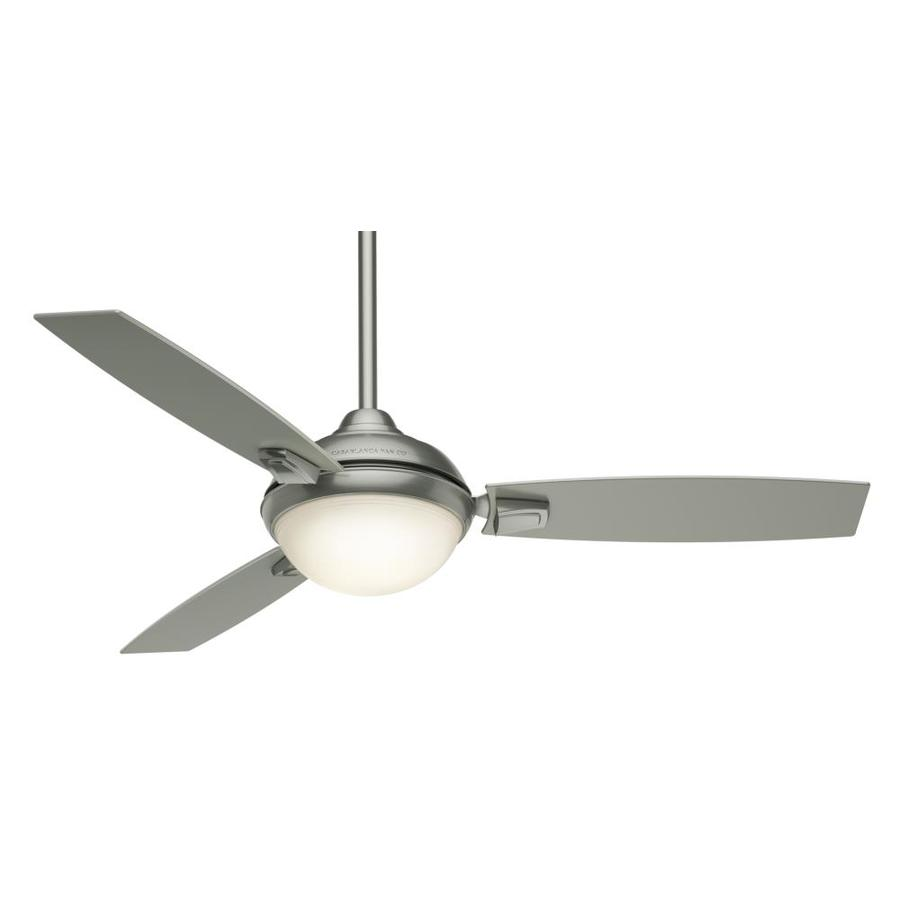 Casablanca Verse LED 54-in Satin Nickel Integrated LED Indoor/Outdoor Downrod Or Close Mount Ceiling Fan with Light Kit and Remote (3-Blade) ENERGY STAR