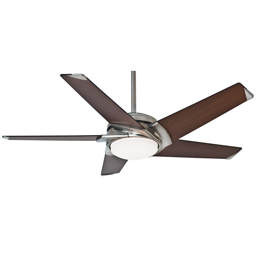 Casablanca Stealth DC LED 54-in Brushed Nickel Integrated LED Indoor Downrod Or Close Mount Ceiling Fan with Light Kit and Remote ENERGY STAR