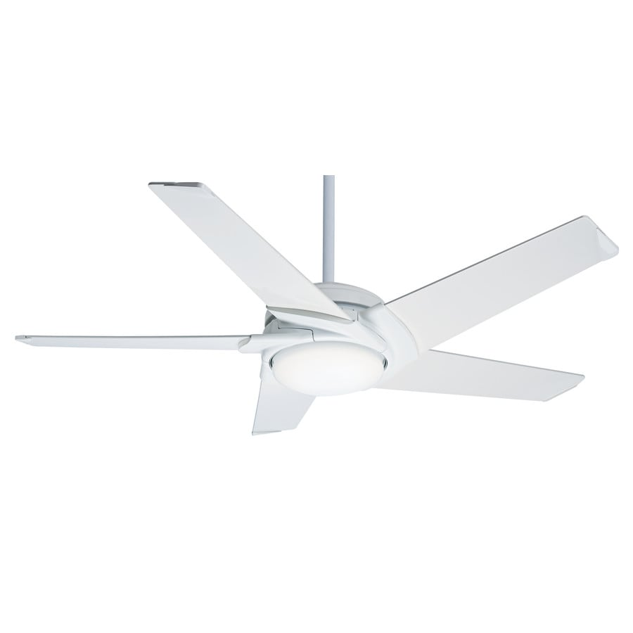 Casablanca Stealth DC LED 54-in Snow White Integrated LED Indoor Downrod Or Close Mount Ceiling Fan with Light Kit and Remote ENERGY STAR