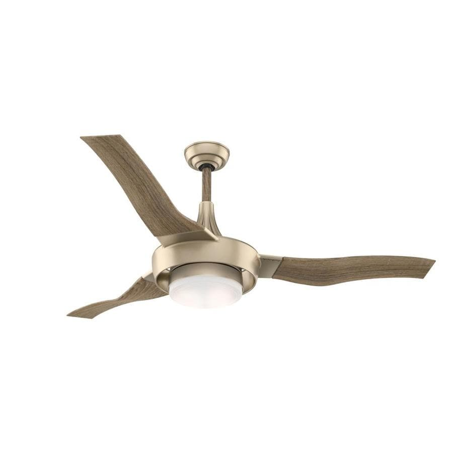 Casablanca Perseus LED 64-in Metallic Sunsand Integrated LED Indoor Downrod Mount Ceiling Fan with Light Kit and Remote (3-Blade) ENERGY STAR