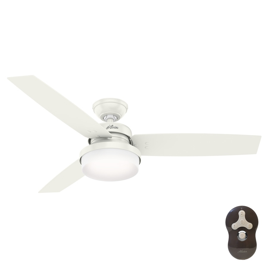 Hunter Sentinel 52 In Fresh White Indoor Ceiling Fan With Light Kit And Remote