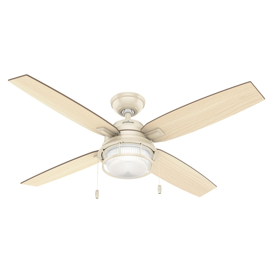 Hunter 52-in Autumn Creme Indoor/Outdoor Downrod Or Close Mount Ceiling Fan with Light Kit (4-Blade)