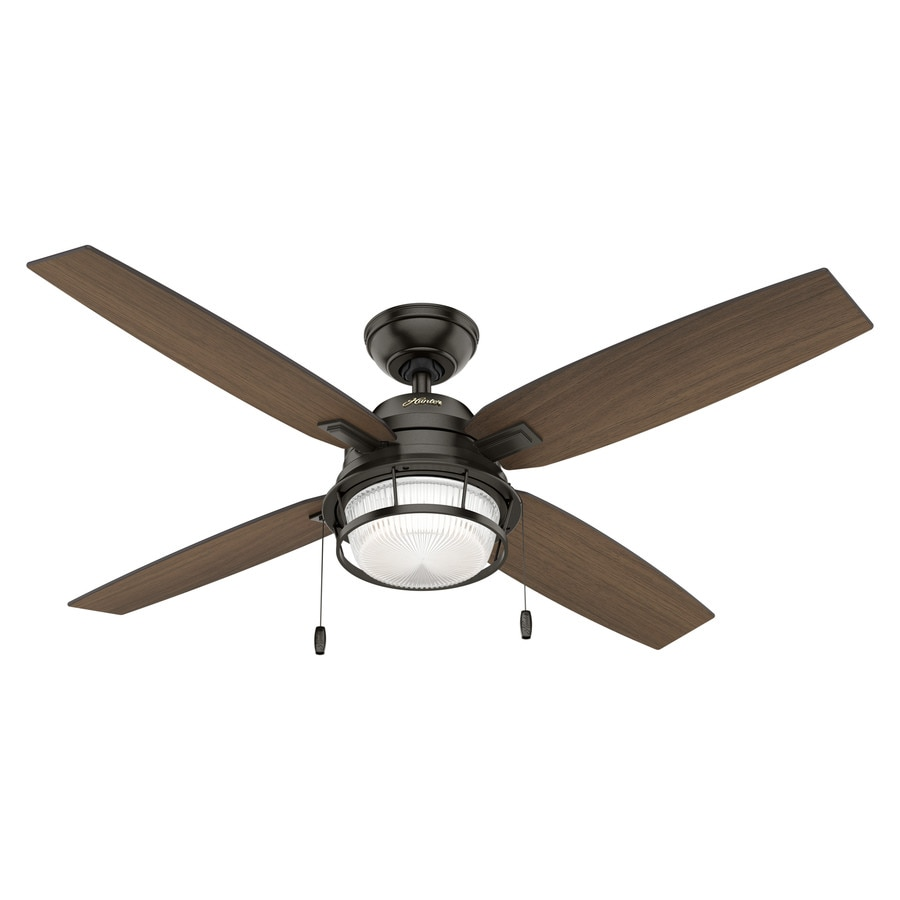 Hunter Ocala 52-in Noble Bronze Downrod or Close Mount Indoor/Outdoor Ceiling Fan with Light Kit (4-Blade)