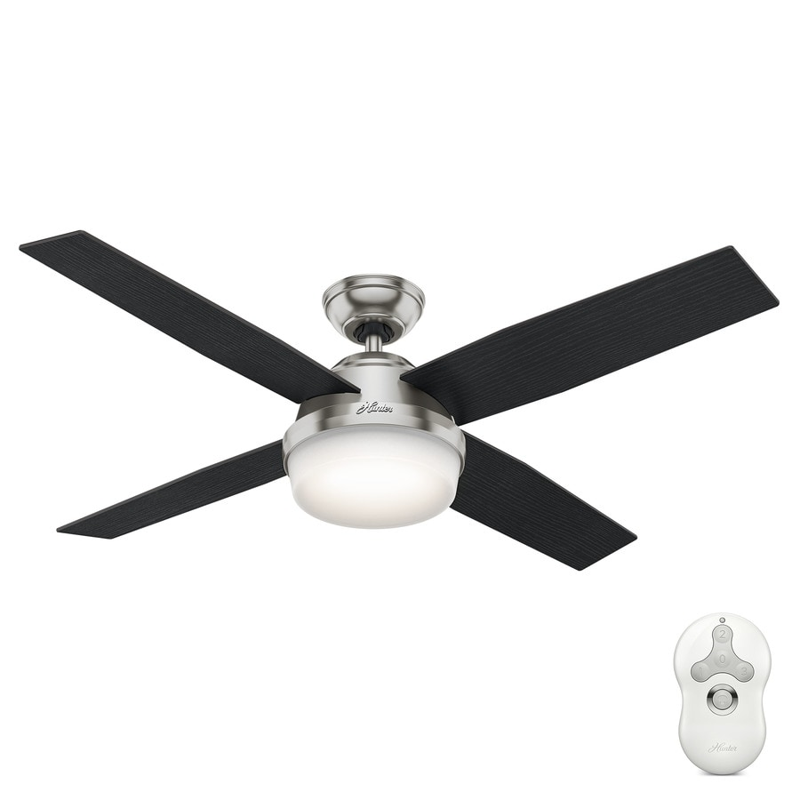 Hunter Dempsey 52-in Brushed Nickel Indoor Downrod Or Close Mount Ceiling Fan with Light Kit and Remote (4-Blade)