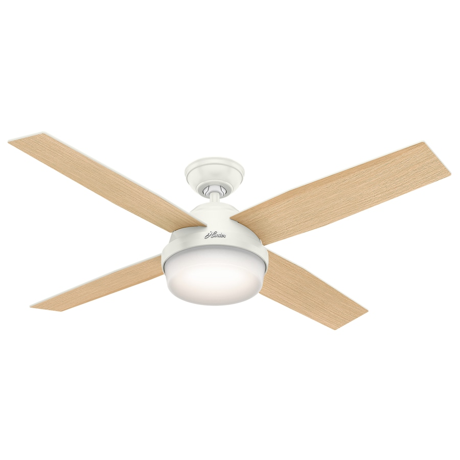 Hunter Dempsey 52-in Fresh White Downrod or Close Mount Indoor Ceiling Fan with Light Kit and Remote (4-Blade)