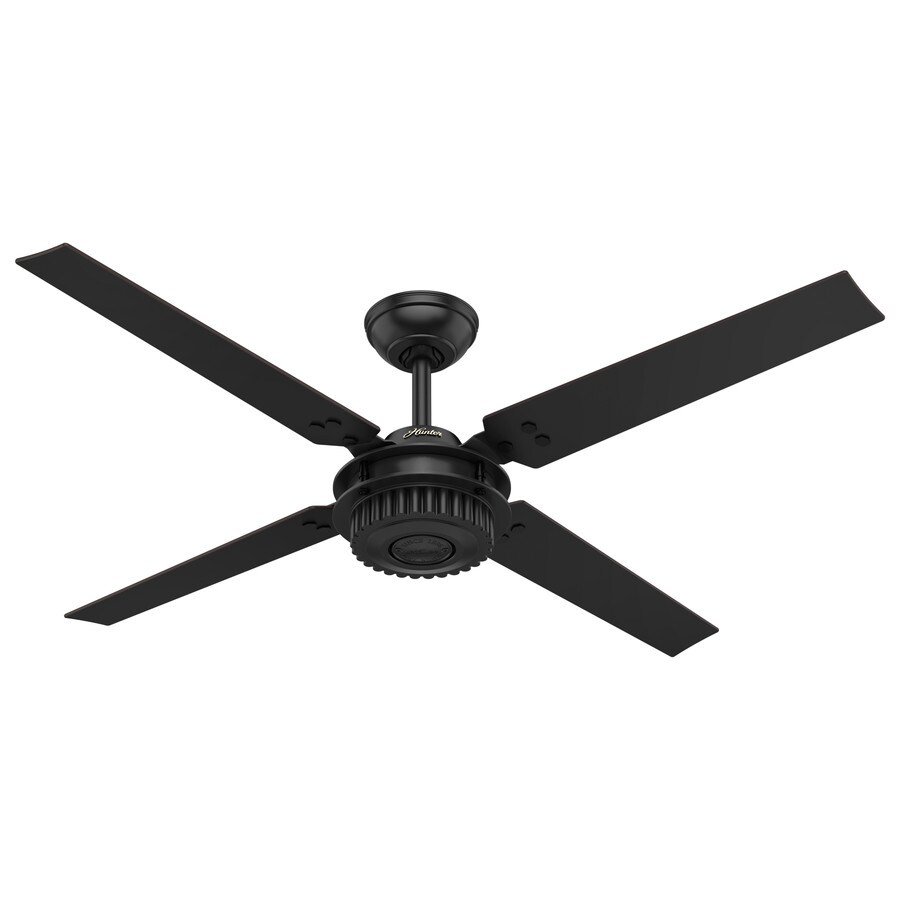 Hunter Chronicle 54-in Satin Black Indoor/Outdoor Downrod Mount Ceiling Fan and Remote (4-Blade)