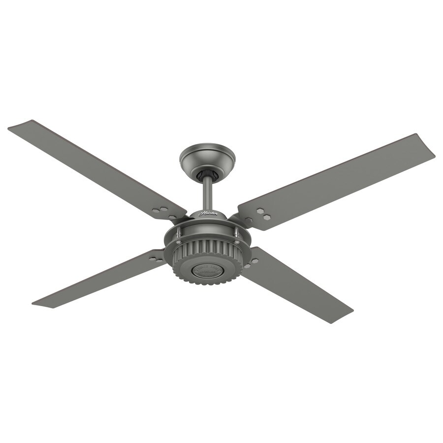 Hunter Chronicle 54-in Brushed Slate Indoor/Outdoor Downrod Mount Ceiling Fan and Remote (4-Blade)
