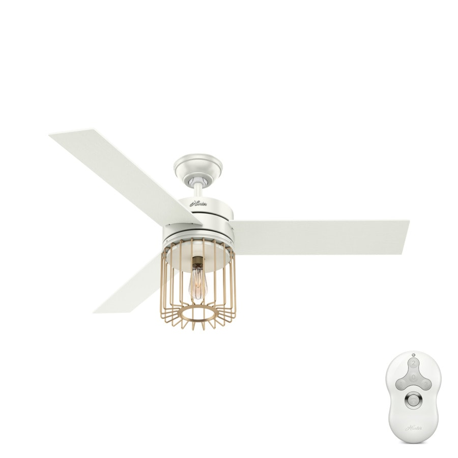 Hunter Ronan Edison 52 In Fresh White And Modern Br Led Indoor Ceiling Fan With