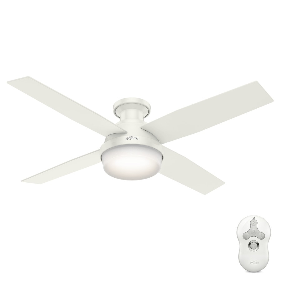 shop hunter dempsey 52-in fresh white flush mount indoor ceiling