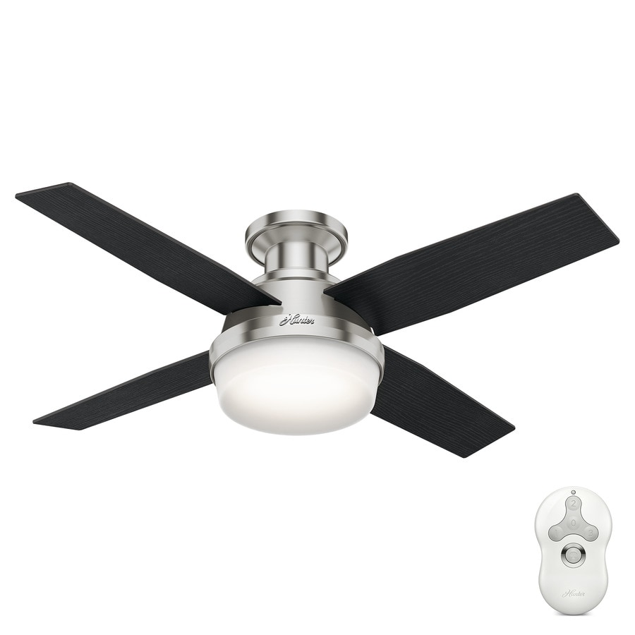 Shop hunter dempsey 44 in brushed nickel indoor flush mount hunter dempsey 44 in brushed nickel indoor flush mount ceiling fan with light kit and mozeypictures Gallery