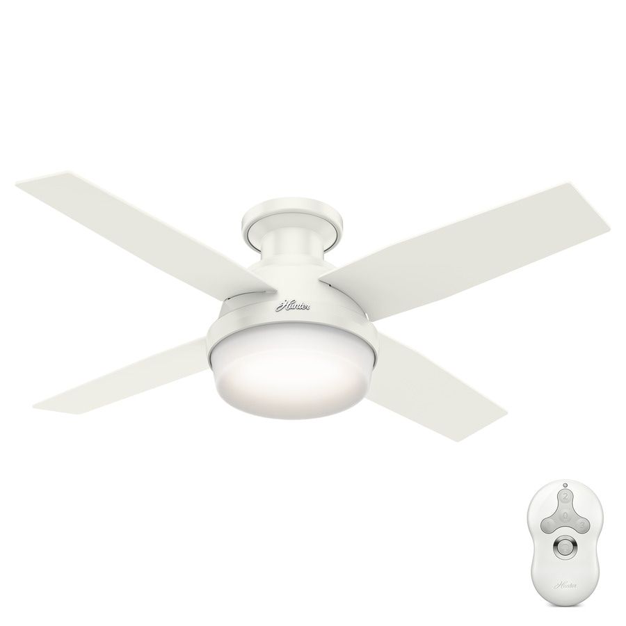 ceiling fan 44 inch. Hunter 44-in Fresh White Indoor Flush Mount Ceiling Fan With Light Kit And Remote 44 Inch