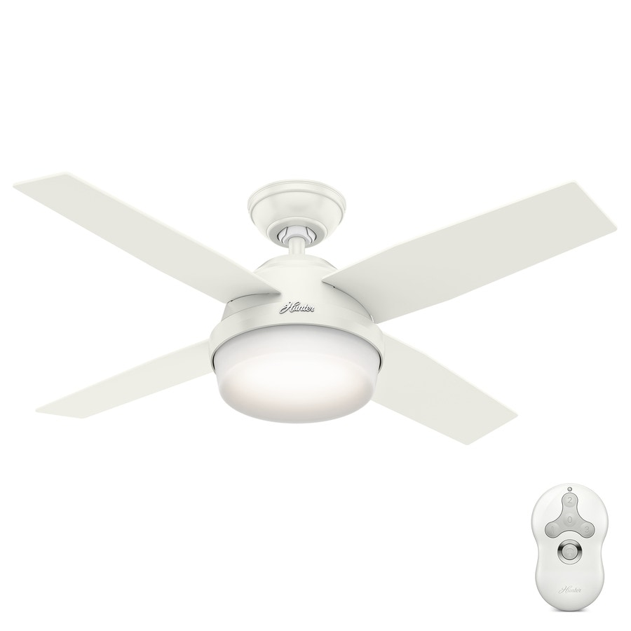 Hunter Dempsey 44-in Fresh White Indoor Downrod Or Close Mount Ceiling Fan with Light Kit and Remote (4-Blade)