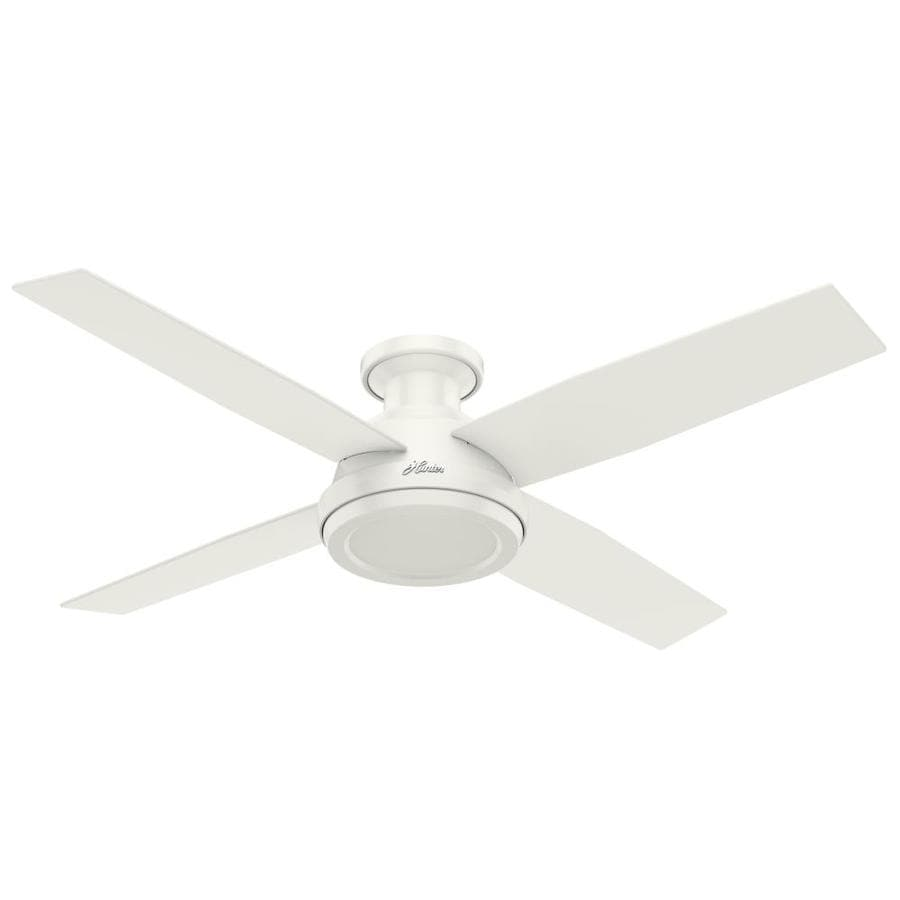 Hunter Dempsey 52-in Fresh White Indoor Flush Mount Ceiling Fan and Remote  (4 - Shop Hunter Dempsey 52-in Fresh White Indoor Flush Mount Ceiling