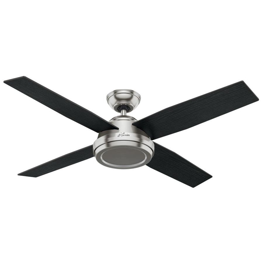 Hunter Dempsey 52-in Brushed Nickel Indoor Downrod Or Close Mount Ceiling Fan and Remote (4-Blade)