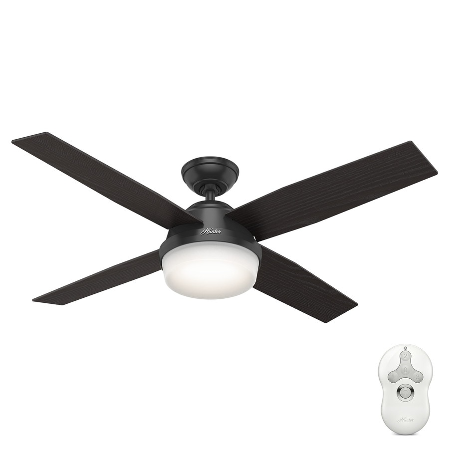 Shop hunter dempsey 52 in matte black indooroutdoor downrod or hunter dempsey 52 in matte black indooroutdoor downrod or close mount ceiling fan aloadofball Image collections