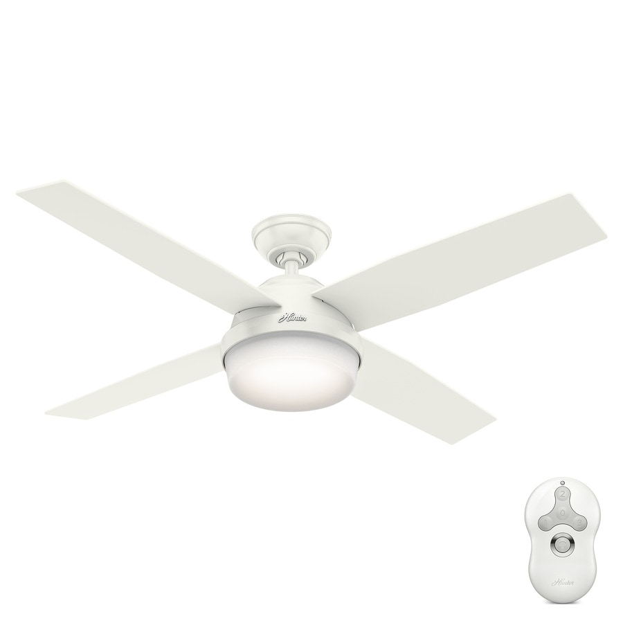 Outdoor Ceiling Fan With Light And Remote Shop hunter dempsey 52 in white indooroutdoor ceiling fan with hunter dempsey 52 in white indooroutdoor ceiling fan with light kit and remote workwithnaturefo