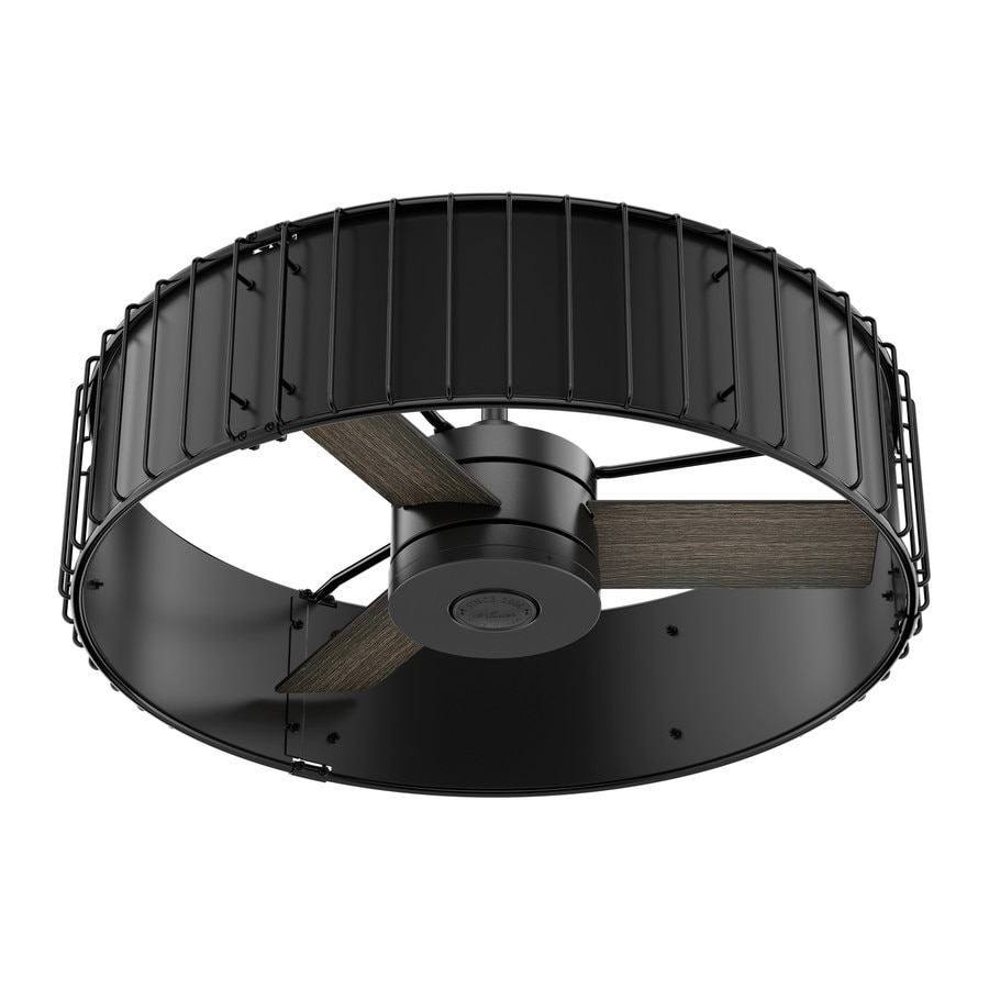 Hunter Vault 30-in Matte Black and Gloss Black Indoor Downrod Mount Ceiling Fan and Remote (3-Blade)