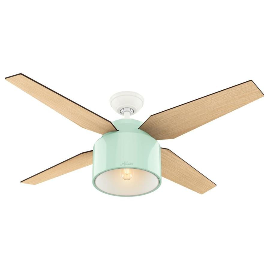 Shop hunter cranbrook 52 in mint green indoor downrod mount ceiling hunter cranbrook 52 in mint green indoor downrod mount ceiling fan with light kit and aloadofball Images