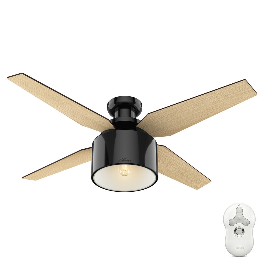 Shop hunter cranbrook 52 in gloss black indoor flush mount ceiling hunter cranbrook 52 in gloss black indoor flush mount ceiling fan with light kit and mozeypictures
