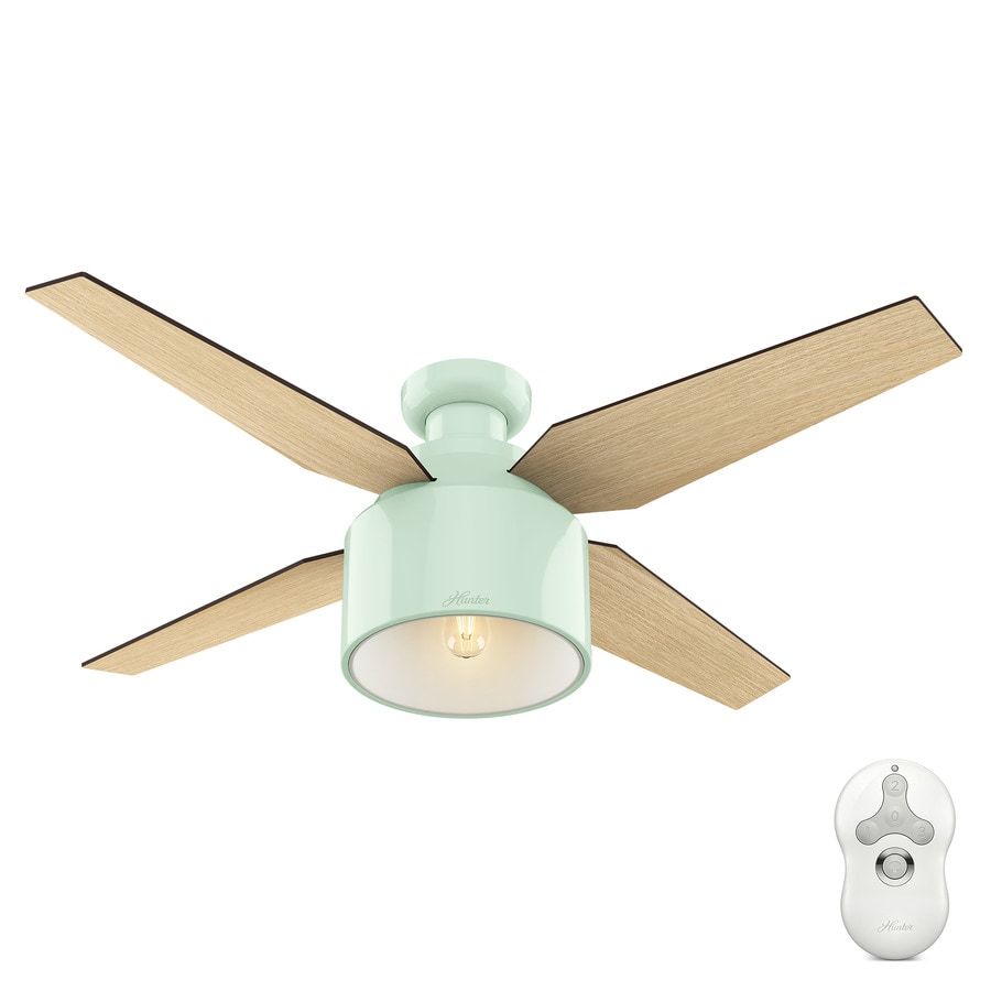 Hunter Cranbrook 52-in Mint Green Indoor Flush Mount Ceiling Fan with Light Kit and Remote (4-Blade)