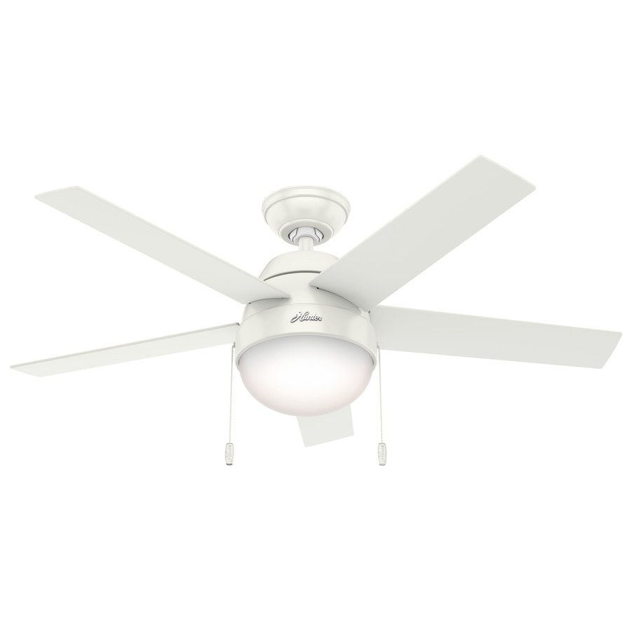 Hunter Anslee 46-in Fresh White Downrod or Close Mount Indoor Ceiling Fan with Light Kit