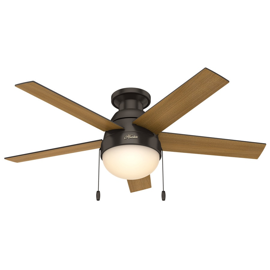 Hunter Anslee 46-in Premier Bronze Indoor Flush Mount Ceiling Fan with Light Kit