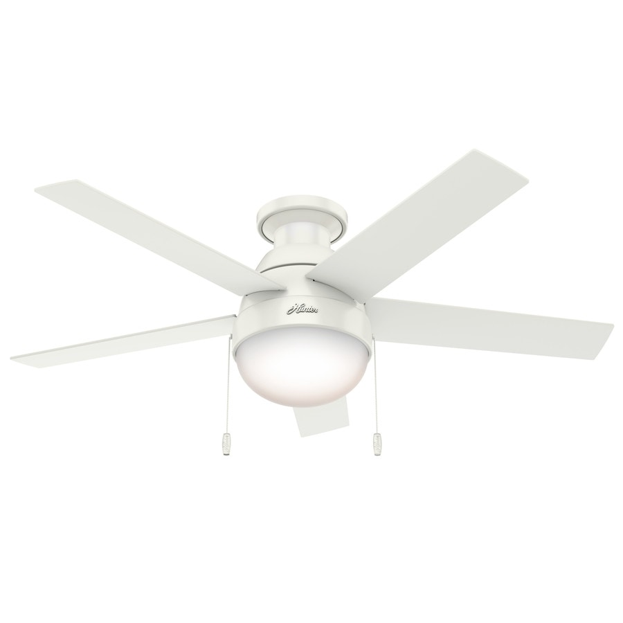 Shop Hunter Anslee 46 In Fresh White Indoor Flush Mount
