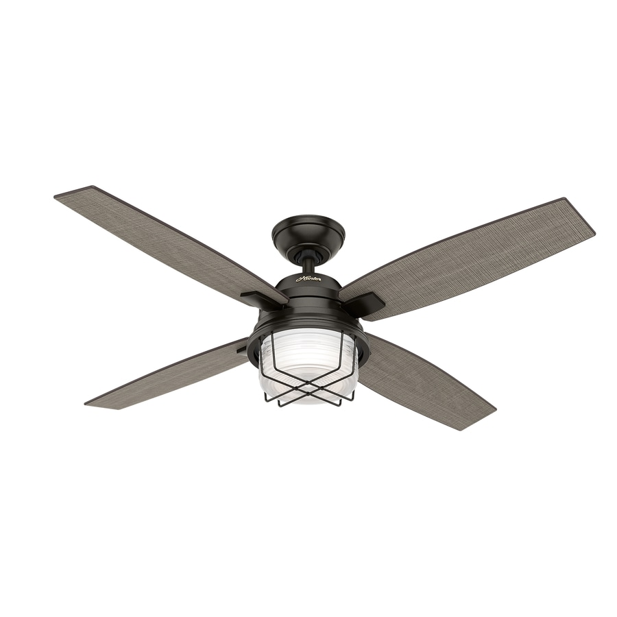 Hunter Ivy Creek 52-in Noble Bronze Downrod or Close Mount Indoor/Outdoor Ceiling Fan with Light Kit and Remote (4-Blade)