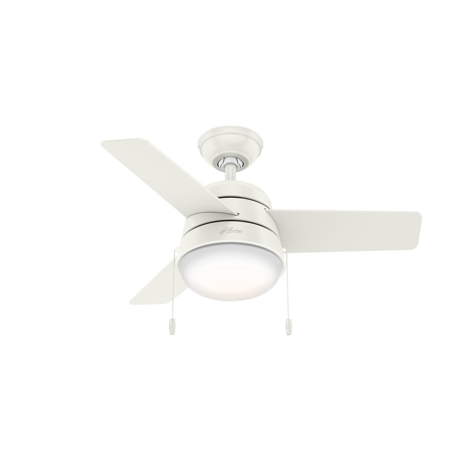 Hunter Aker 36-in Fresh White Indoor Downrod Or Close Mount Ceiling Fan with Light Kit (3-Blade)