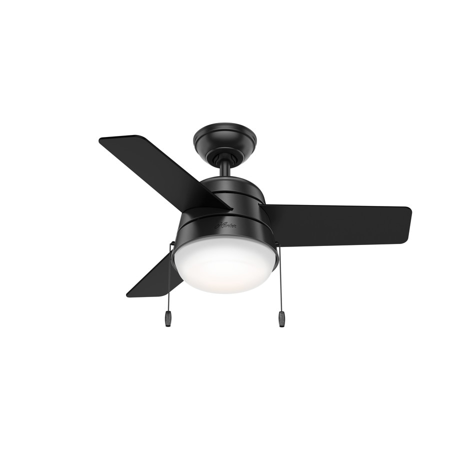Shop Hunter Aker 36 In Matte Black Indoor Ceiling Fan With