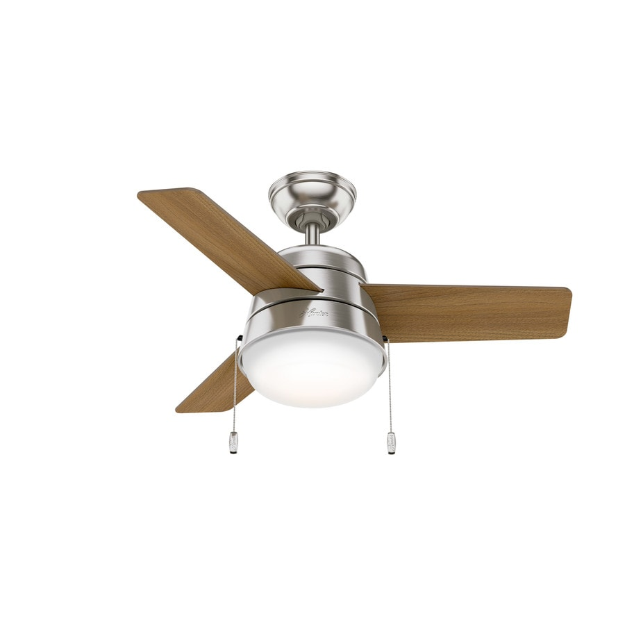 shop hunter aker 36 in brushed nickel indoor ceiling fan with light kit 3 blade at. Black Bedroom Furniture Sets. Home Design Ideas