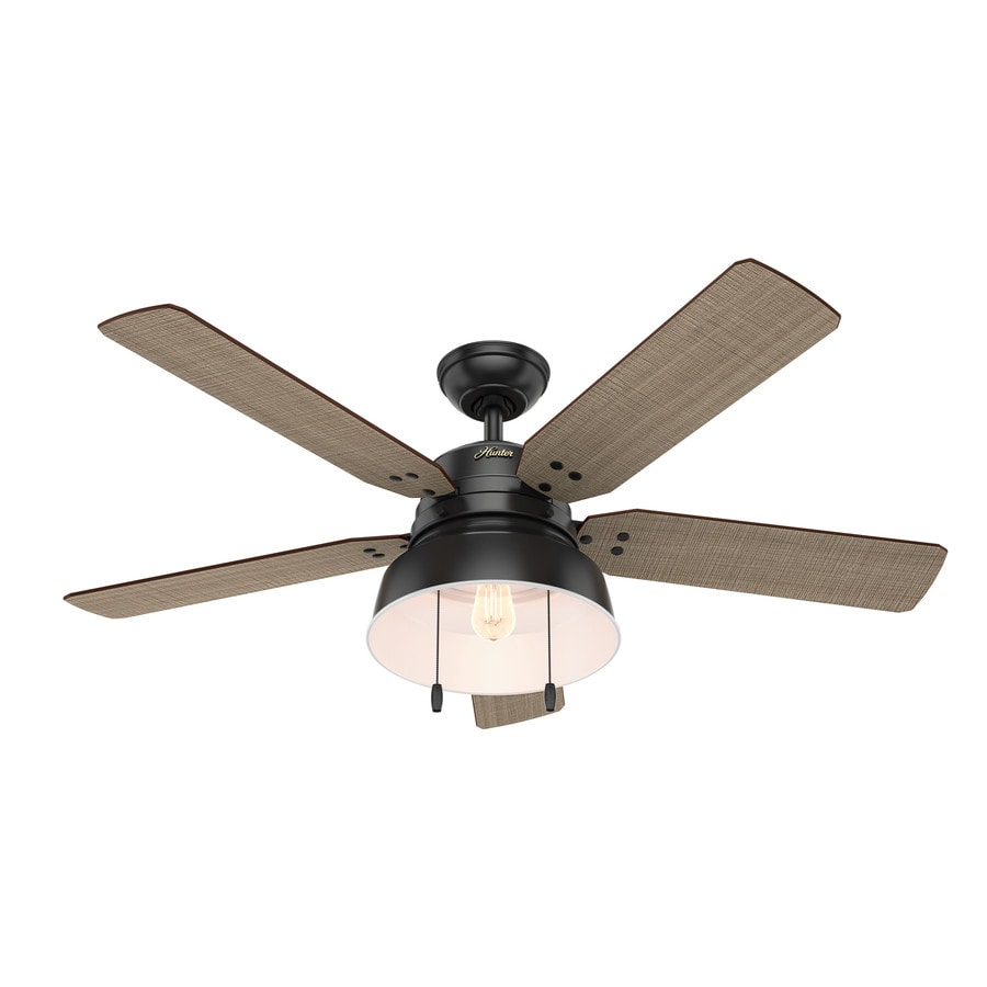Hunter 1-Pack Mill Valley 52-in Matte Black Downrod or close mount Indoor/Outdoor Ceiling Fan with Light Kit