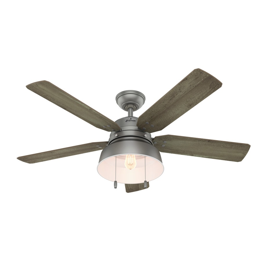 Hunter 72 Industrial Matte White Damp Rated Ceiling Fan: Shop Hunter 1-Pack Mill Valley 52-in Matte Silver Downrod