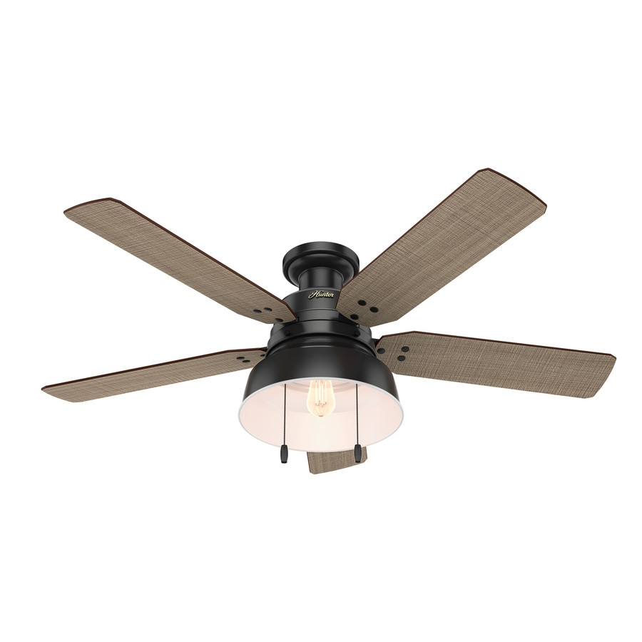Ceiling Fans Mount: Hunter Mill Valley 52-in Matte Black LED Indoor/Outdoor