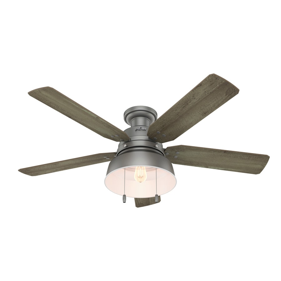 Hunter 1-Pack Mill Valley 52-in Matte Silver Flush mount Indoor/Outdoor Ceiling Fan with Light Kit
