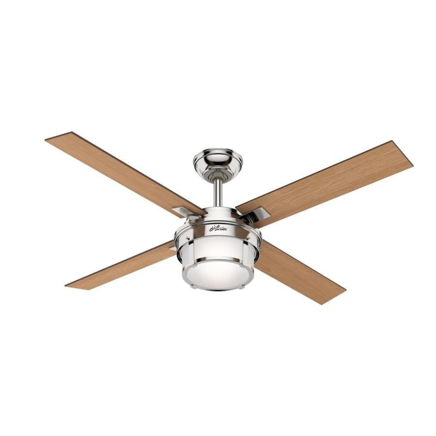 Hunter 1-Pack Maybeck 52-in Polished Nickel Downrod or close mount Indoor Ceiling Fan with Light Kit (4-Blade)